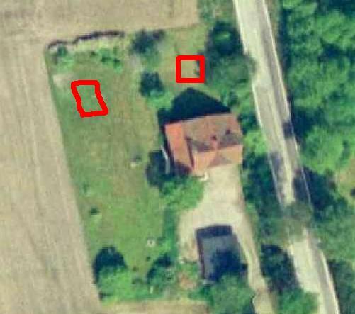 Huset mitt flyfoto nært